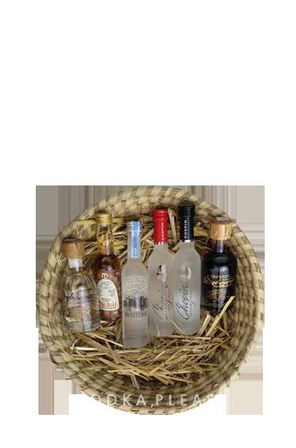 6 De Luxe Wodkas im handgemachten FairTrade-Korb